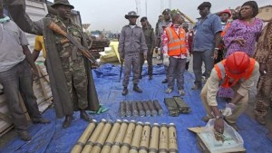 Rocket launchers, grenades and other explosives camouflaged as building material were seized in the Nigerian port of Lagos.