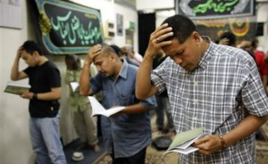 Malaysian Shia Muslims pray at a mosque on the outskirts of Kuala Lumpur.