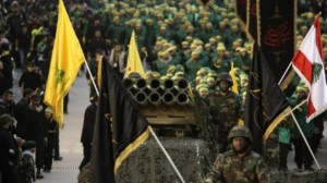 Hezbollah fighters during a rally in Lebanon