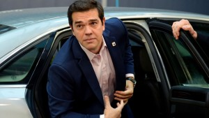 Greece's Prime minister Alexis Tsipras arrives at an EU summit last month in Brussels.