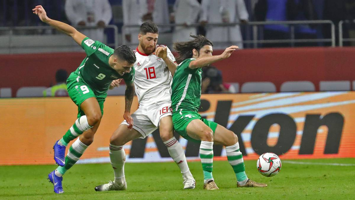 Iraqis chant slogans in Baghdad against Iran after football win