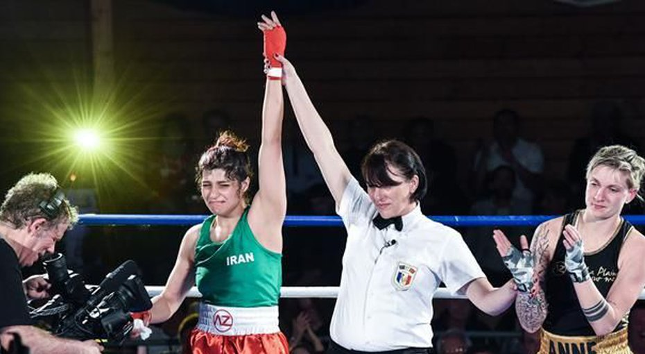 Iran's female boxer makes history in France