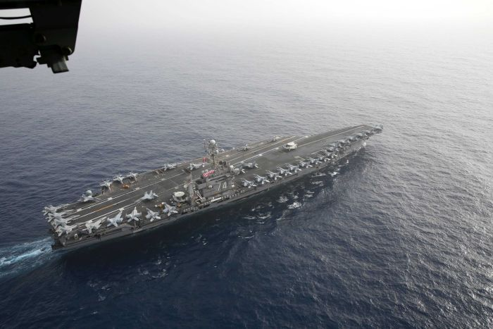 US carrier to deter Iran passes through Suez Canal