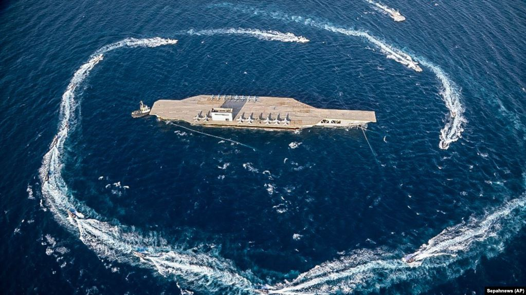 The US Navy mocks Iran's target practice on a replica of an aircraft carrier